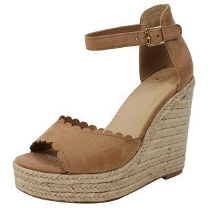 Shoes - Camel faux suede Peep Toe Ankle Strap Espadrille